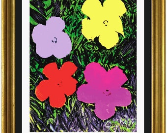 """Limited Edition Lithograph Print after Andy Warhol """"Flowers"""" Plate-Signed & Numbered (unframed)"""