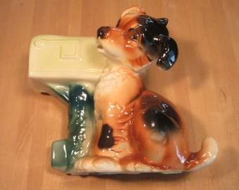 ON SALE! - Porcelain puppy and mailbox planter