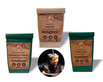 SPECIAL- 3 different coffee regions - 4 oz each - Medium/Dark Roast - 100% Fresh Roasted Coffee   Whole Bean or Ground