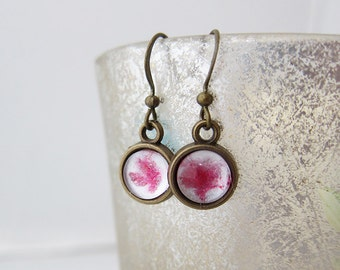 White magenta * hand painted * glass cabochon * drop earrings