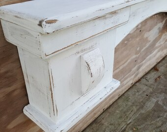 "Free Shipping**Arched French Mantel  or shelf / distressed white finish/ 5.5"" d x 8 ""H, shabby chic, wall shelf, antique mantel"