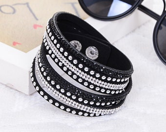 Swarovski Crystal Leather Strap Bracelet
