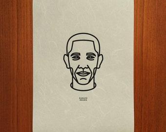 Barack Obama Outline Portrait