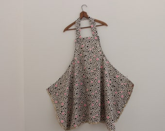 Black and pink dots,long aprondeep pocket,long pinafore,kitchen gift ,for gardening,women gift,gift for her,mom,mother Japanese apron winter