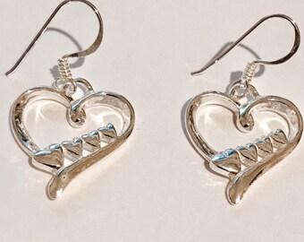 Sterling Silver Heart Earrings/Hearts in a Heart/solid Silver/Handmade/dangly earrings