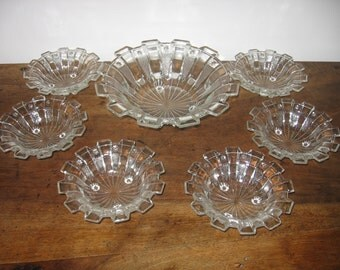 Vintage French Art Deco 7 Piece Clear Pressed Glass Dessert Set 1 Large Serving Bowl With 6 Small Dishes