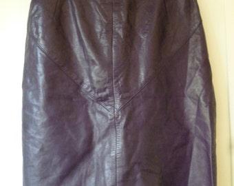 Genuine Black Leather skirt- made in Australia- Size 14