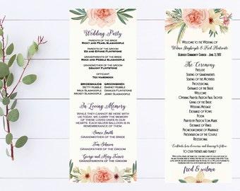 Watercolor Peony Wedding Program