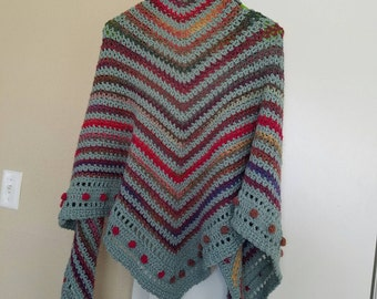 Multicolored Crochet Shawl With Fold Down Collar