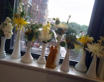 Assorted Vintage Milk Glass vase collection