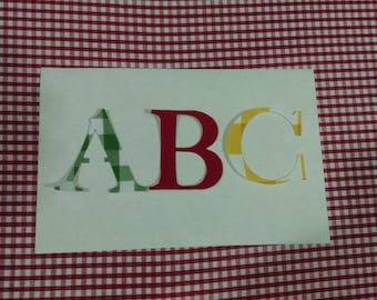 Iron on letters or numbers no sew or sew on fabric applique mix personalise banners / bunting / signs / PARTY BAGS / Christmas stockings