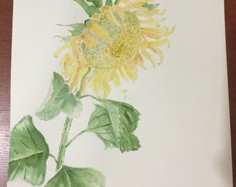 Original Watercolor Sunflower - Life Unexpected