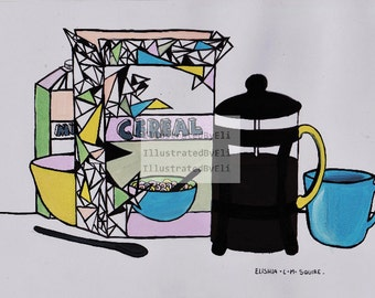 breakfast illustration ORIGINAL painting. 21cm x 29.7cm (A4).