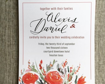 Custom Watercolor Calligraphy Wedding Invitation + RSVP Red Flowers