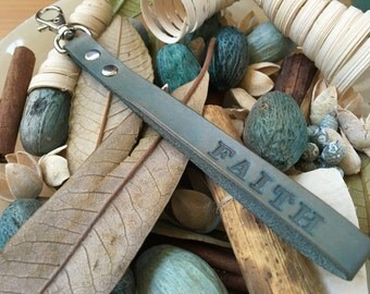 "Ready-to-Ship, Hand-Stamped, Turquoise, Vegetable-Tanned, Leather ""FAITH"" Key Fob, Key Ring, Key Chain, Purse Charm, Bag Charm"
