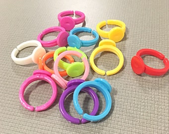 Children's colorful plastic ring blanks