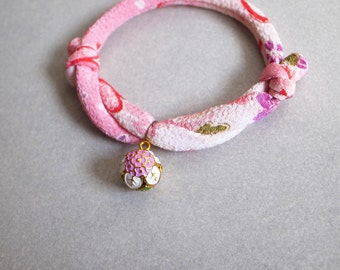Japanese kimono dog & cat collar_Pink White_S size