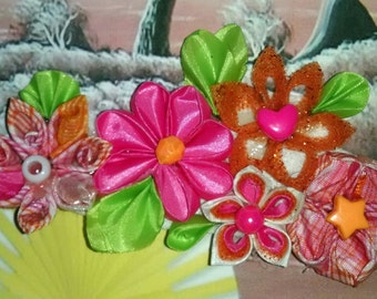 Pink, orange, and white kanzashi flower hair bow