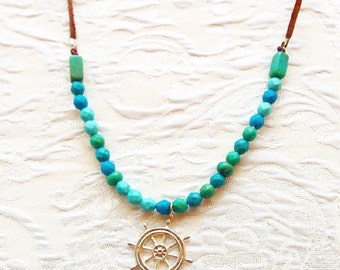 Nautical teal bead and leather necklace