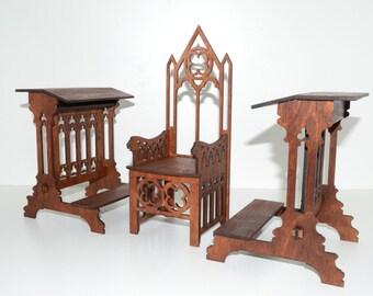 Gothic style Set throne chair & 2 genoflektory for dolls 12 in 1:6 Dolls FR