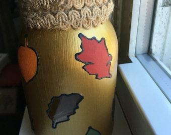 Golden Autumn Mason Jar