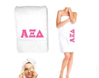 Alpha Xi Delta Bath Towel . Custom Greek Letters