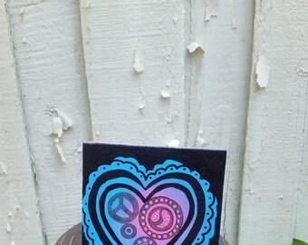 Tiny 4x4 hand painted mandala