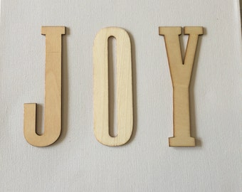 Joy canvas wall art, home decor, neutral wood letters