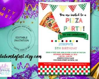 Pizza Party Invitation, School Pizza Party, Office Pizza Party, Editable Pizza Party, birthday invitation, instant download invitation, kids