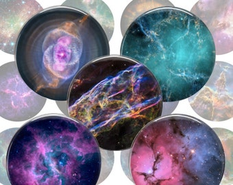 Astronomy Nebulas Digital Collage Sheet - 1.5 inch 38mm 1 inch 25mm Circles Printable Download