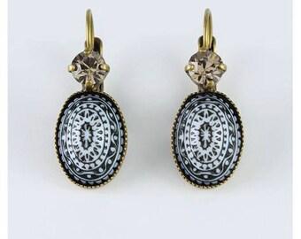 Swarovski Vintage Black and White Stone Earrings