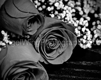 Black and White Three Roses - Flower Photography