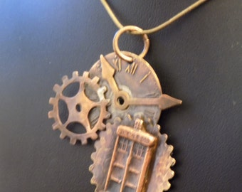 Steampunk TARDIS Doctor Who Clock Necklace