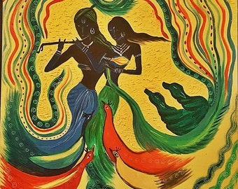 Oil Painting Krishna Radha - Music heals it all