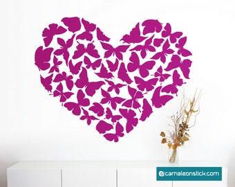 Heart butterflies-wall stickers-wall decal butterflies