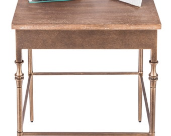 Side End Table with Fenial Legs and Rustic Wood Top