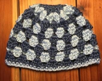 Baby boy infant newborn 0-3 Months dark blue light blue beanie hat