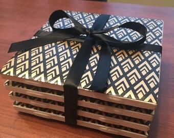 Gold & Black Coasters - Set of 4