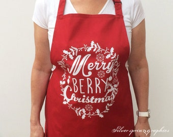 Merry Berry Christmas Apron