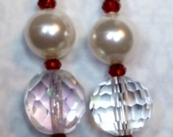Earrings - Scarlet and Gray on Silver Wire