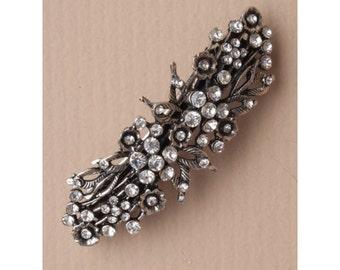 Vintage crystal flower silver barrette, Bridal barrette, French clip, Wedding barrette, Bridal Hair clip. Vintage Hair Clip. Crystal Flowers