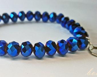 Midnight Blue, Glass Bead Bracelet, Stretch Bracelet