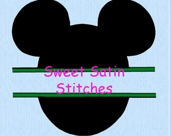 Inspired Split Mickey Mouse Ears Applique Machine Embroidery Design