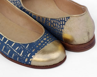 Handmade Leather Flats/ Model HANS/ Blue and Gold / FREE Shipping