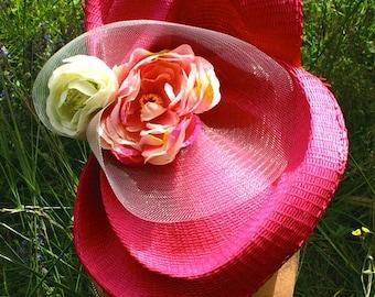 Hat straw fushia