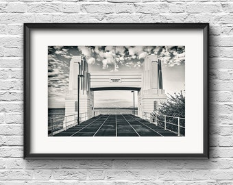 Highway Noir - FREE SHIPPING - Black and White High Sepia Fine Art Photography Highway Bridge Monochrome Architectural Hornibrook Redcliffe