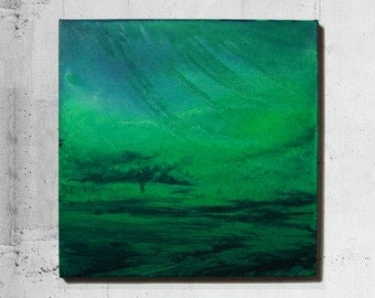 Abstract painting, original green, blue, abstract art, acrylic painting on canvas 50 x 50 cm - Luna