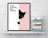 Minimalist Cat print Cat nursery print Animal print Cat quotes Cat lover gift Black cat Printable kids gift Instant Download Cat printable
