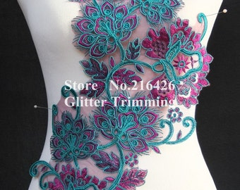 1PC x Beautiful Dark Purple/Teal Blue Flower Eyelash Laces Appliques Trims Sewing DIY Crafts BNC118J