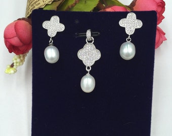 Sterling Silver Pearl Set 925 Sterling Silver Set with Fresh Water Pearls  (S102)